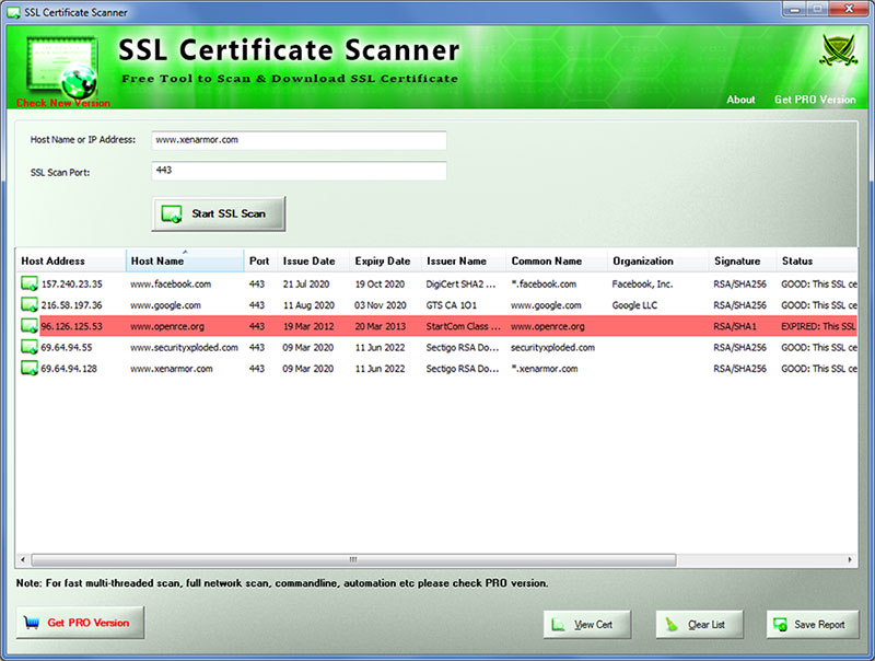 SSL Certificate Scanner full screenshot