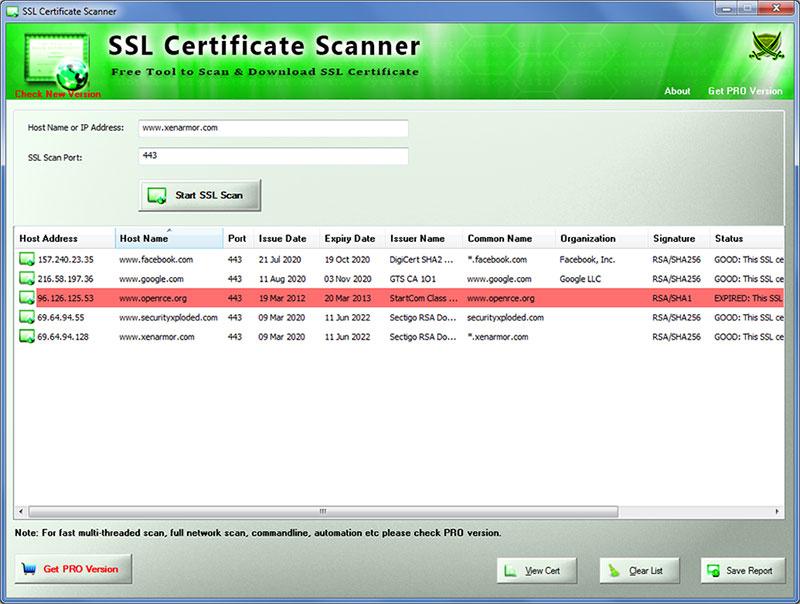 SSL Certificate Scanner in action
