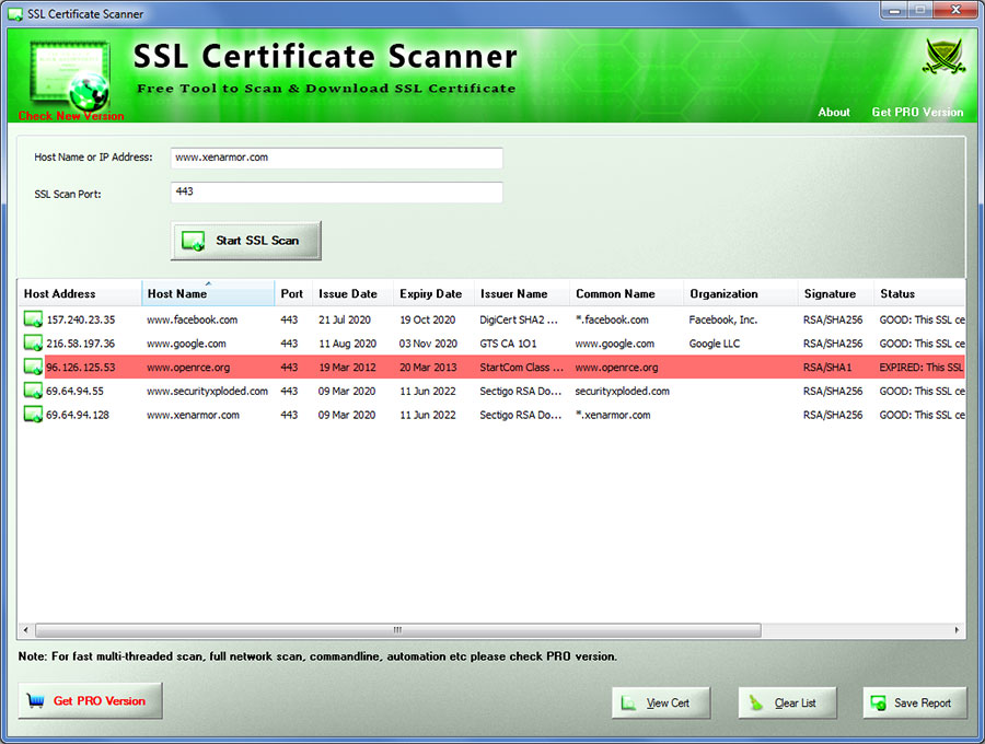 Click to view SSL Certificate Scanner screenshots