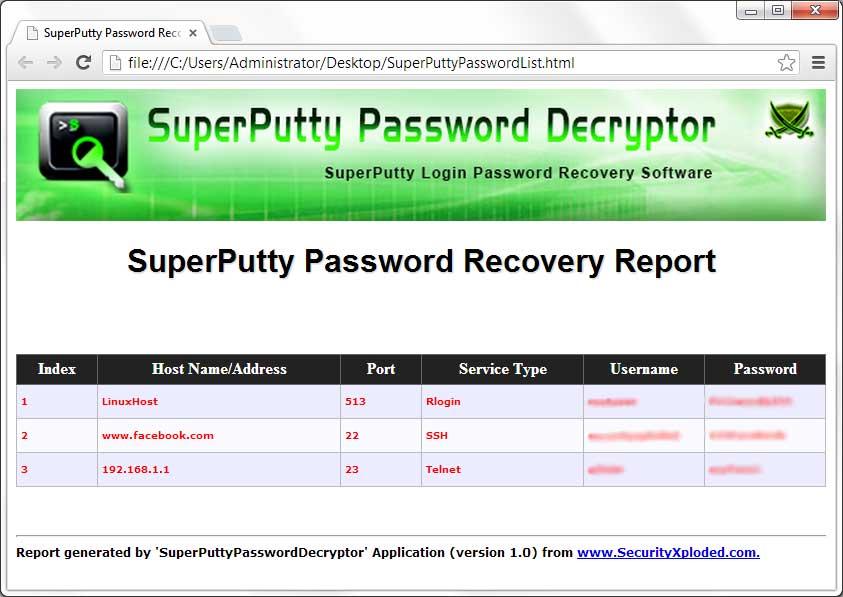SuperPutty Password Decryptor : Free SuperPutty Session