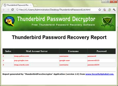 ThunderbirdPassDecryptor showing the saved password list