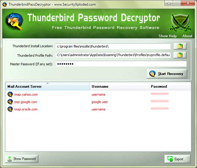 Password Decryptor for Thunderbird Screen shot