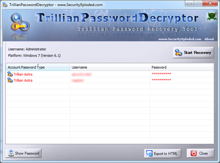 Click to view Trillian Password Decryptor 5.5.0.16 screenshot