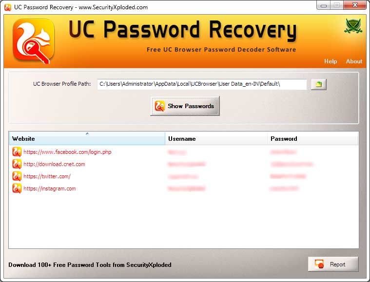 UC Password Recovery Screen shot