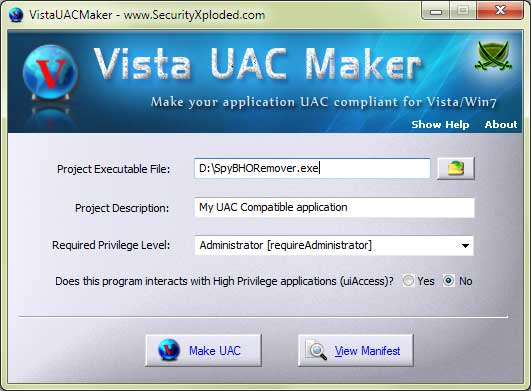 Vista UAC Maker Screen shot
