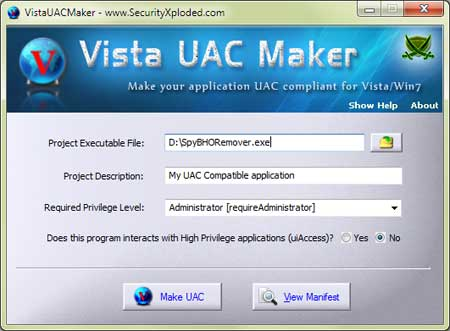 VistaUACMaker Screenshot