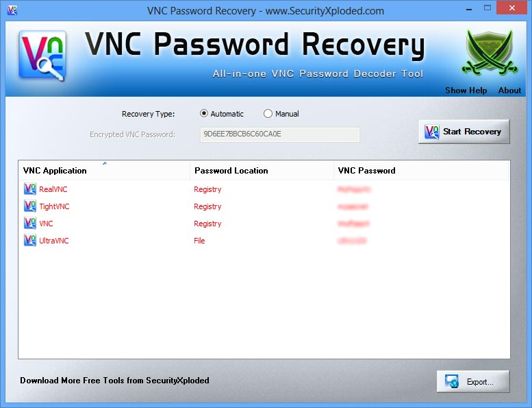 VNC Password Recovery - All-in-one Free VNC Password Decoder Tool