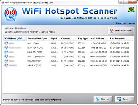 WiFiHotspotScanner showing recovered passwords