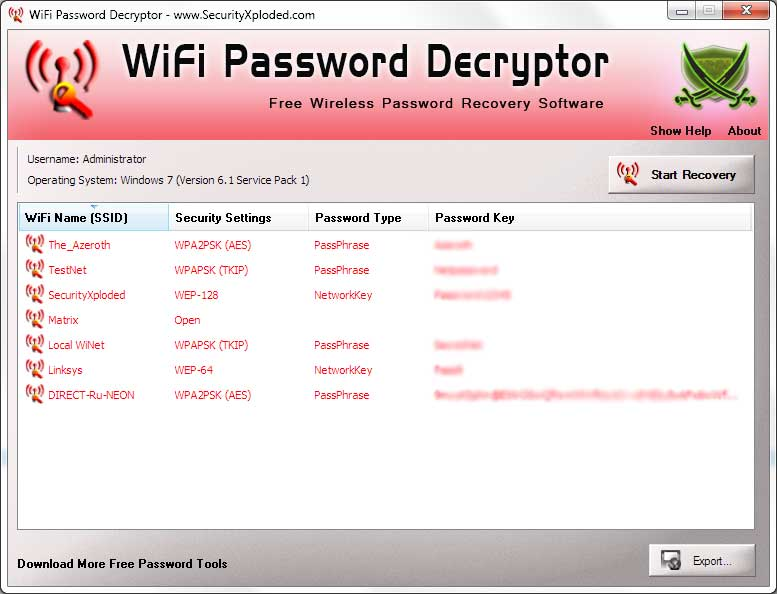 WiFi Password Decryptor Screen shot