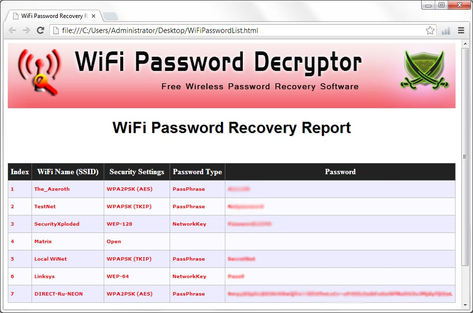 WiFi Password Decryptor screenshot