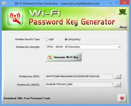 WiFi Password Key Generator Screen shot