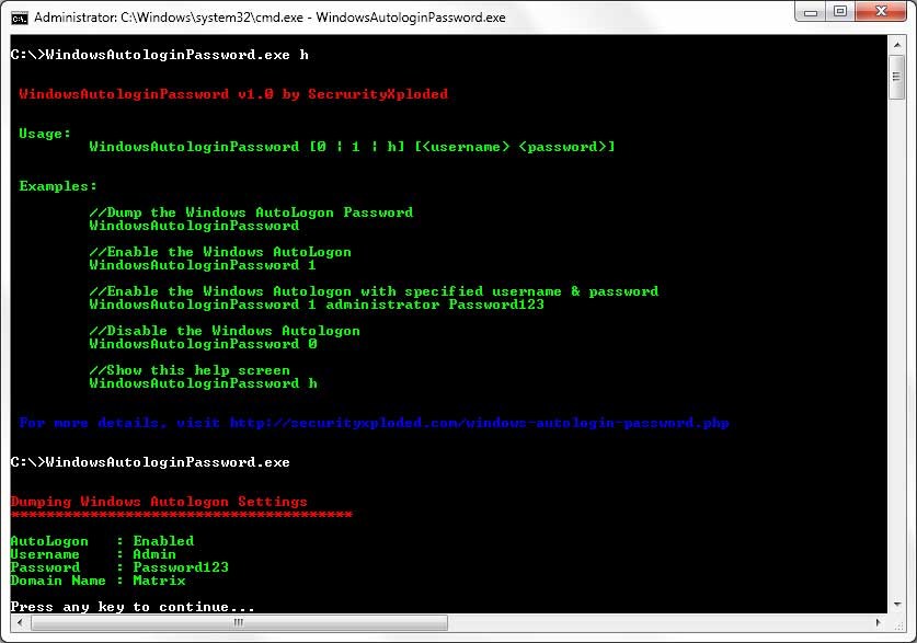 Click to view Autologin Password for Windows screenshots