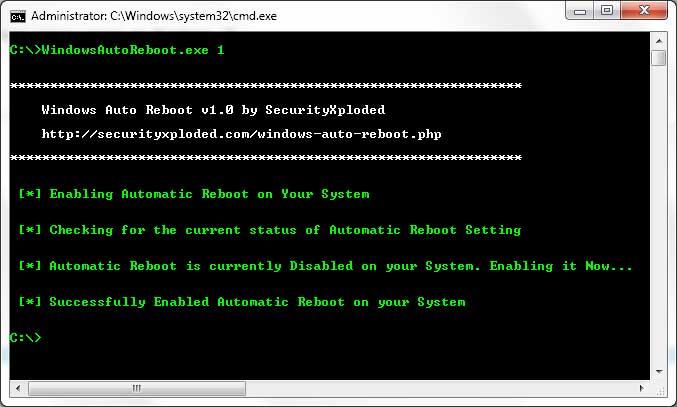 Windows Auto Reboot full screenshot
