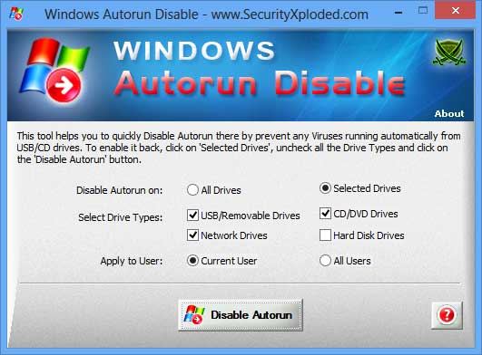 Click to view Disable Windows Autorun screenshots