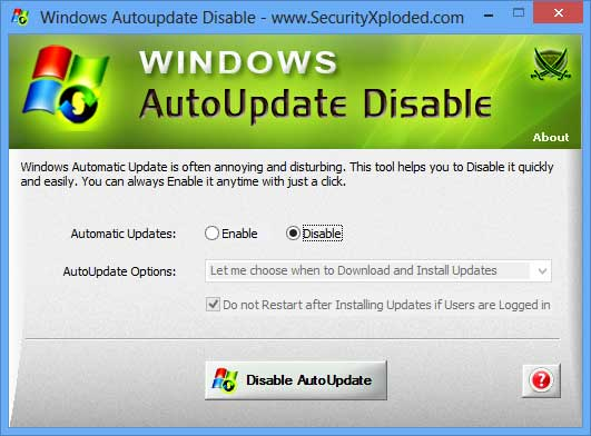 Disable Windows AutoUpdate