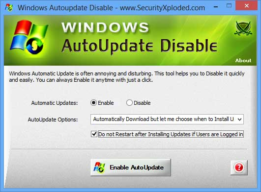 Windows AutoUpdate Disable full screenshot