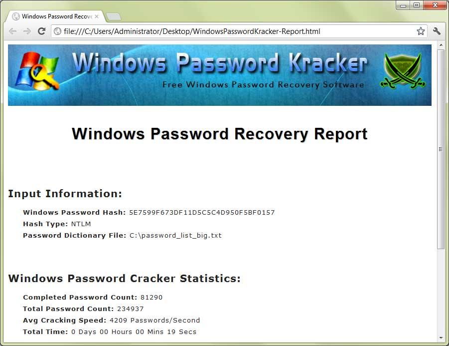 Windows Password Kracker : Free Windows Password Recovery Software
