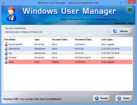 WindowsUserManager showing recovered passwords