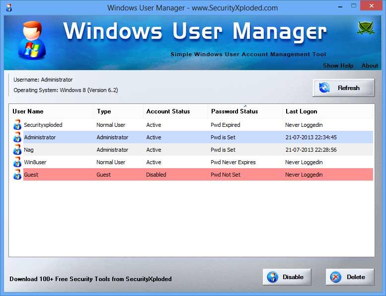 Windows User Manager full screenshot