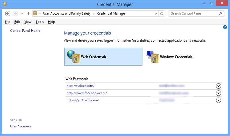 windows 7 internet explorer password manager