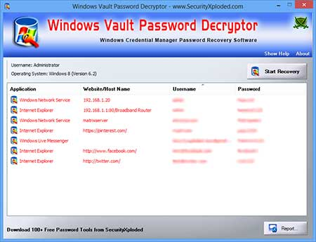 WindowsVaultPasswordDecryptor showing recovered passwords