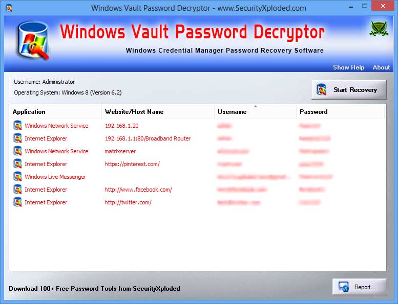 Password Decryptor of Windows Vault