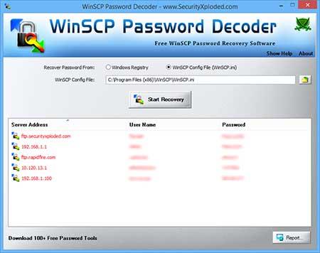 WinSCP Password Decoder full screenshot