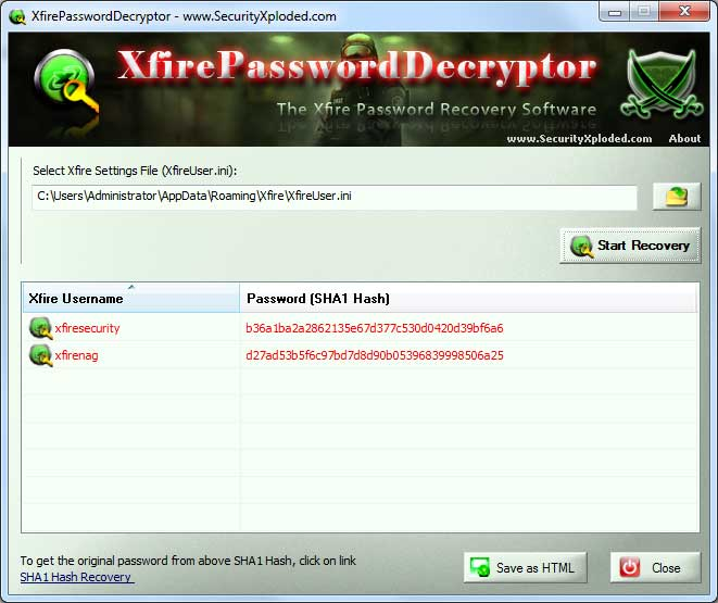 Xfire Password Decryptor Screen shot