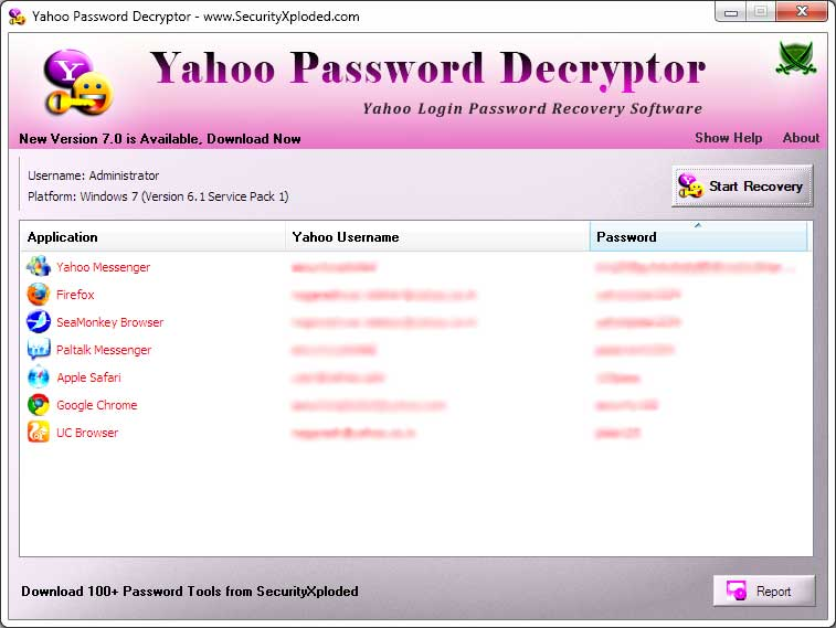 Password Decryptor for Yahoo Screen shot